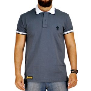 Camiseta Polo Sacudido's Elastano - Chumbo Gola Branca