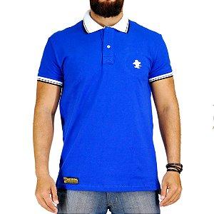 Camiseta Polo Sacudido's Elastano - Azul Gola Branca