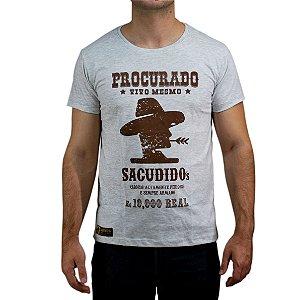 Camiseta Sacudido's Procurado - Cinza Mescla Claro