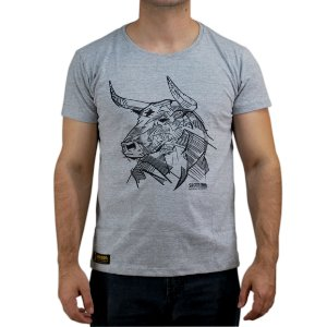 Camiseta Sacudido´s - Boi em Traços - Cinza Mescla