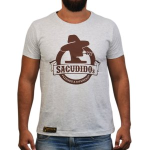 Camiseta Sacudido's Logo Redondo - Cinza Claro / Detalhe Marrom