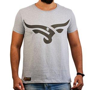 Camiseta Sacudido's Cabeça Touro Cinza Mescla e Marrom