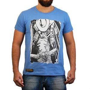 Camiseta Sacudido's Peão Montado Brete Azul Claro