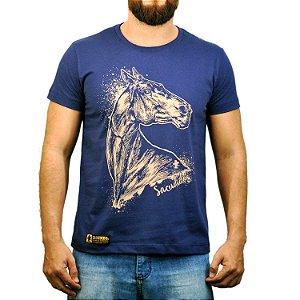 Camiseta Sacudido's Cavalo Desenhado Azul Marinho