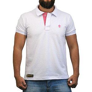 Camiseta Polo Sacudido's - Branca e Rosa