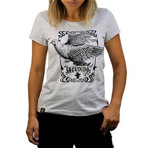 Camiseta Sacudido's Feminina Pomba da Paz - Cinza Claro