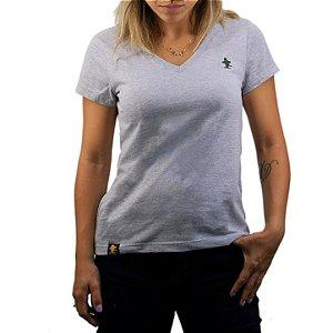 Camiseta Sacudido's Feminina Básica - Cinza Médio