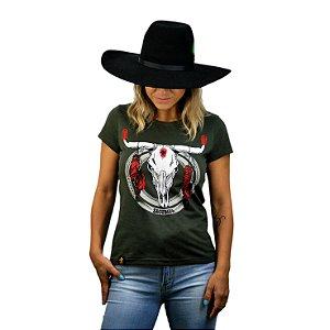 Camiseta Sacudido's Feminina - Touro Pena - Verde