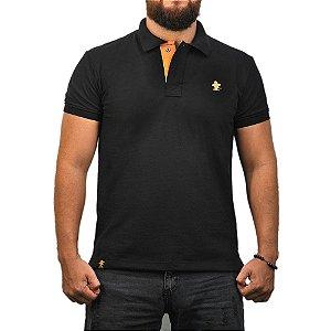 Camiseta Polo Sacudido's - Preta e Rosê