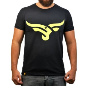 Camiseta Sacudido's - Boi Estilizado - Preto e Amarelo