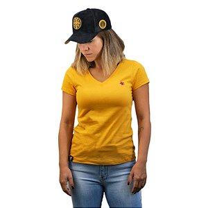 Camiseta Sacudido's Feminina Básica - Mostarda