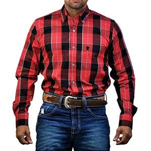 Camisa Manga Longa Sacudido's Xadrez - Vermelho