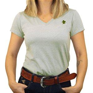 Camiseta Sacudido's Feminina Básica - Verde Mescla