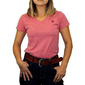 Camiseta Sacudido's Feminina Básica - Vermelho Mescla