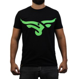 Camiseta Sacudido's - Boi Estilizado - Preto e Verde