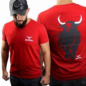 Camiseta Sacudido's - Touro Agressivo - Vermelho