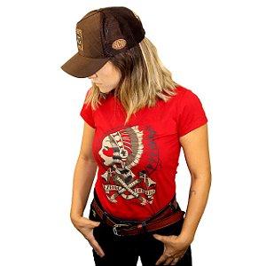 Camiseta Sacudido's Feminina - Índia - Vermelho