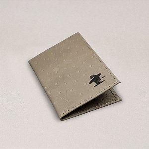 Porta Cartão Sacudido's - Napa Avestruz Cinza