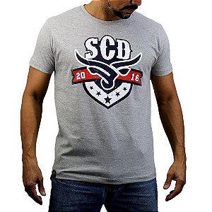Camiseta Sacudido's - Boi Estilizado - Cinza Mescla
