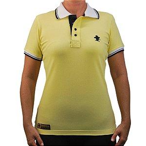 Camiseta Polo Feminina Sacudido's Elastano - Amarelo