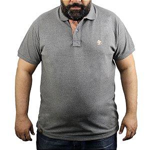 Camiseta Polo Sacudido's - Cinza Mescla com Salmão