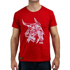 Camiseta Sacudido´s - Boi em Traços - Vermelho