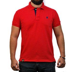 Camiseta Polo Sacudido's - Vermelho e Azul
