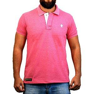 Camiseta Polo Sacudido's - Rosa e Branca