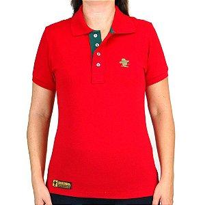 Camiseta Polo Feminina Sacudido's Elastano - Vermelho Lisa