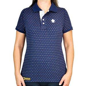 Camiseta Polo Feminina Sacudido's Elastano - Azul Marinho