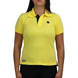Camiseta Polo Feminina Sacudido's - Amarelo e Preto