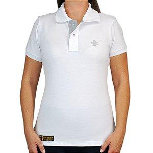 Camiseta Polo Feminina Sacudido's Elastano - Branca Lisa