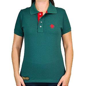 Camiseta Polo Feminina Sacudido's Elastano - Verde Musgo Lisa