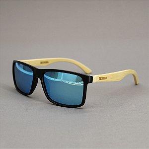 Óculos Sacudido´s - Bambu - Lente Azul Ceu