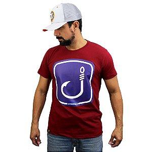 Camiseta Sacudido's - Anzol Pesca - Vinho