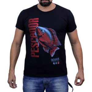Camiseta Sacudido's - Pescaria - Preta