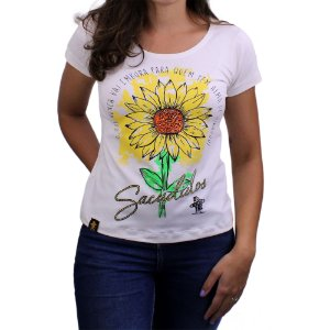 Camiseta SCD's Viscolycra Fem. - Flor - Off White