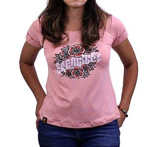 Camiseta SCD's Viscolycra Fem.- Floral - Rosa Bebê