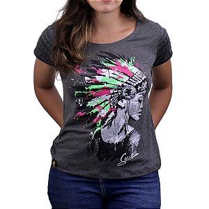 Camiseta SCD's Viscolycra Fem.- Cocar-Preto Mescla