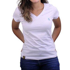 Camiseta SCD's Feminina Básica - Branco /Azul Bebê