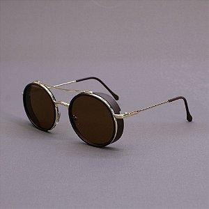 Óculos Sacudido´s - Metal Redondo - Dourado/Marrom