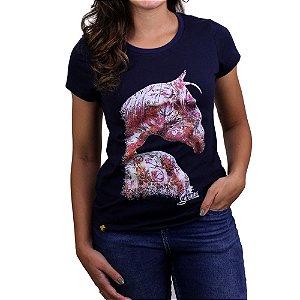 Camiseta Sacudido's Feminina -Cavalo Des.- Marinho