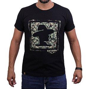 Camiseta Sacudido's - Logo Militar - Preto