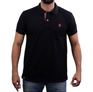Camiseta Polo Sacudido's - Preto-Vinho Mescla