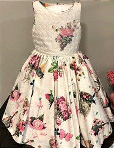 Vestido floral rosa festa