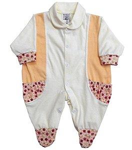 Macacão com Bolsinhos - Flores 100% Algodão Baby Passo a Passo