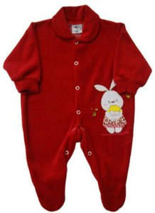 Macacão Menina Bordado Vermelho em Plush - Prematuro - Baby Passo a Passo