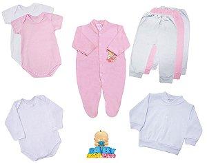 Kit Basic Day Girl 8 Peças Baby Passo a Passo - 100% Algodão