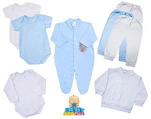 Kit Basic Day Boy 8 Peças Baby Passo a Passo - 100% Algodão