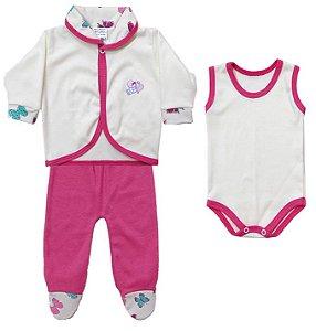 Conjunto Pagão em Suedine - Borboleta - 3 Peças Pink - 100% algodão Baby Passo a Passo
